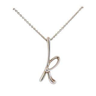 Tiffany & Co Peretti Silver Initial Letter K Pendant Necklace