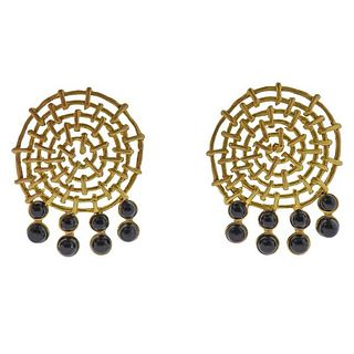 18K Gold Onyx Earrings