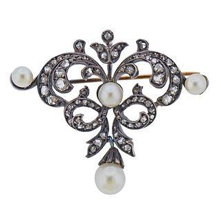 18K Gold Silver Diamond Pearl Brooch Pin