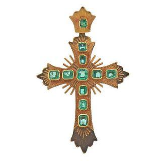 18K Gold Emerald Cross Pendant