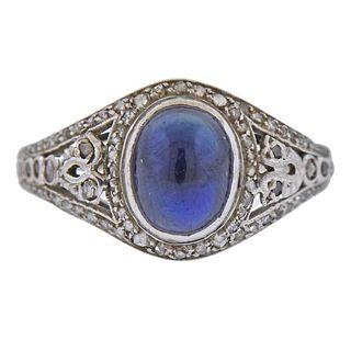 18K Gold Platinum Diamond Sapphire Ring
