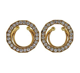 Bvlgari Bulgari 20k Gold Diamond Clip Set
