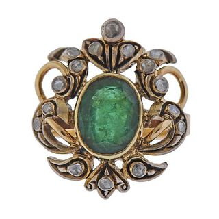 Continental 18K Gold Silver Diamond Emerald Ring