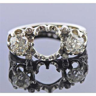 Antique Platinum Diamond Ring Mounting