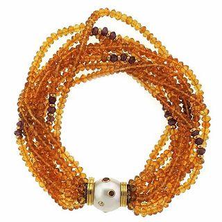 Trianon Citrine Tourmaline Pearl Diamond Gold Multi Strand Bracelet