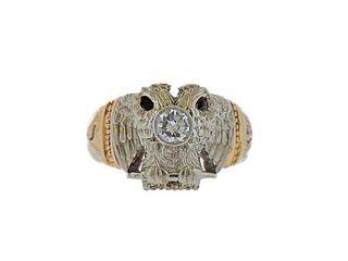 Antique 14k Gold Diamond Masonic Ring