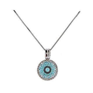 Vianna Brasil 18k Gold Paraiba Tourmaline Diamond Crystal Necklace