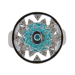 Vianna Brasil 18k Gold Paraiba Tourmaline Diamond Crystal Ring