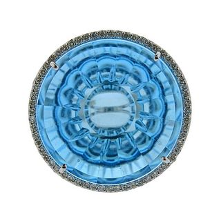Vianna Brasil 18k Gold Diamond Blue Topaz Cocktail Ring