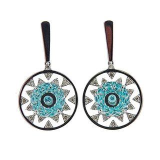 Vianna Brasil 18k Gold Paraiba Tourmaline Crystal Diamond Earrings