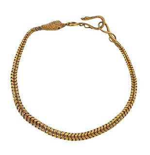 Antique Victorian 18k Gold Snake Chain Necklace