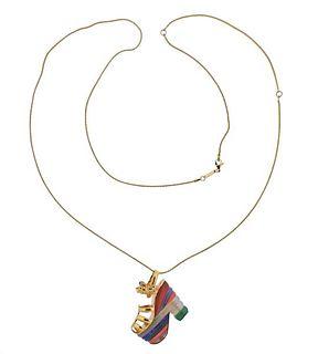 Ferragamo 18k Gold Lapis Chrysoprase Jasper Coral Shoe Pendant Necklace