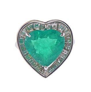 GIA 5.48ct Colombian Emerald Platinum Diamond Heart Ring