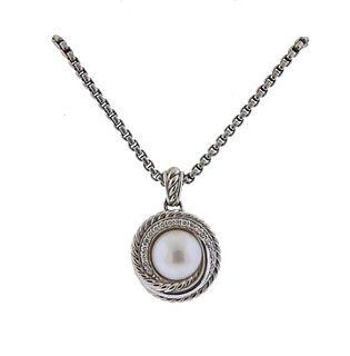 David Yurman Silver Diamond Pearl Pendant Necklace