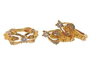 18K Gold Diamond Angel Earrings Ring Set