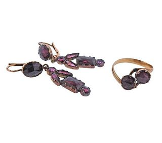 Antique 18k Rose Gold Garnet Amethyst Ring Earrings Set