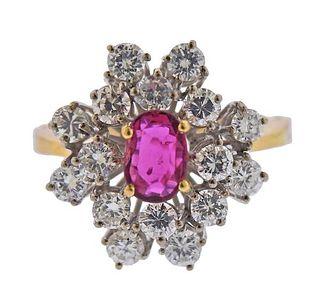 18k Gold Diamond Ruby Cocktail Ring