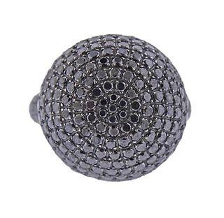 18k Gold Black Diamond Ball Ring