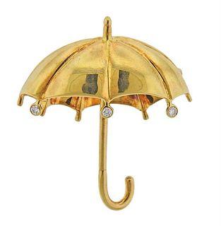 Tiffany & Co 18K Gold Diamond Umbrella Brooch Pin