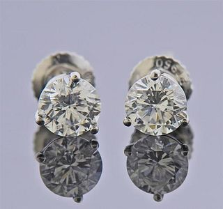 IGI Certified 1.48ctw E F Si2 I1 Diamond Platinum Stud Earrings