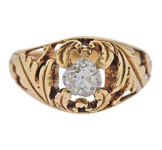 Antique 18K Gold Old Mine Diamond Ring