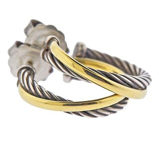 David Yurman Albion Silver 18k Gold Cable Crossover Hoop Earrings