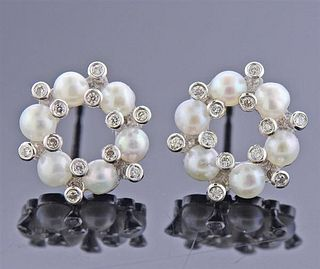 Iridesse 18K Gold Diamond Pearl Earrings