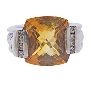 David Yurman Silver Diamond Citrine Ring
