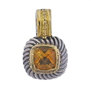 David Yurman Silver 14K Gold Citrine Pendant