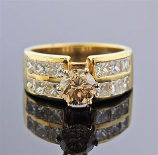 14K Gold Fancy White Diamond Engagement Ring