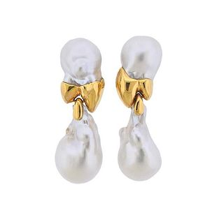 18k Gold Baroque Pearl Cocktail Earrings