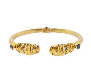 Lalaounis Greece 18k Gold Ruby Diamond Sapphire Chimera Bracelet