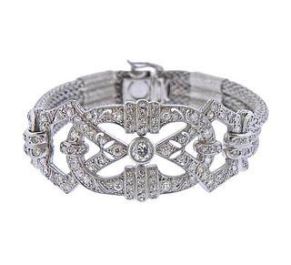Mid Century Continental 18k Gold Diamond Bracelet