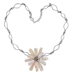 Iridesse Silver Mother of Pearl Floral Pendant Necklace