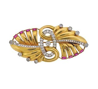 Retro 18k Gold Platinum Diamond Synthetic Ruby Brooch