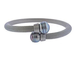 Iridesse Stainless Steel Baroque Pearl Cuff Bracelet