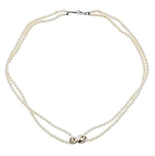 Tiffany & Co Silver Pearl Infinity Double Strand Necklace
