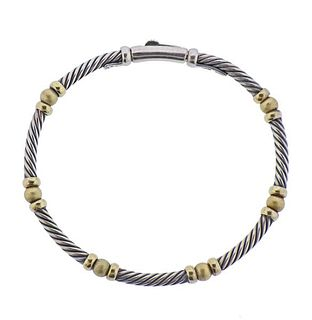 David Yurman Silver 14K Gold Cable Bracelet