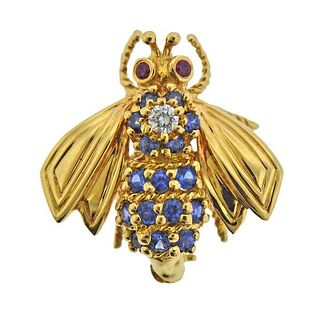 Tiffany & Co 18K Gold Diamond Ruby Sapphire Bee Brooch Pin