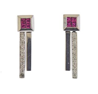 18k Gold Diamond Ruby Earrings