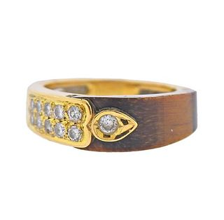 1970s 14k Gold Tiger's Eye Diamond Ring