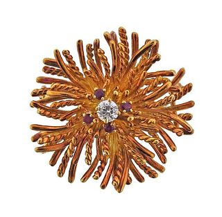 18k Gold Diamond Ruby Anemone Pendant Brooch