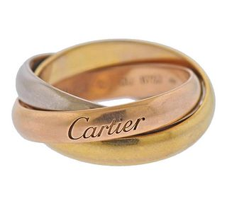 Cartier Trinity 18K Tri Color Gold Band Ring Size 52