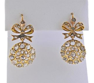 Antique 18K Gold Rose Cut Diamond Earrings