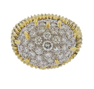 Trio 1960s 18k Gold 3.30ctw Diamond Dome Ring