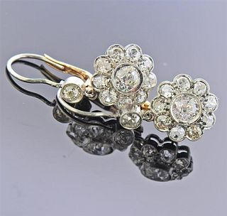 Platinum Gold 3.55cts Diamond Cluster Earrings