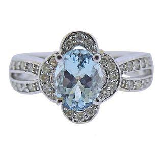 14K Gold Diamond Aquamarine Ring