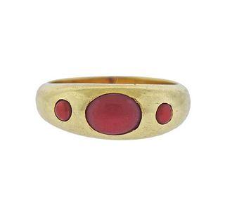 14k Gold Coral Band Ring