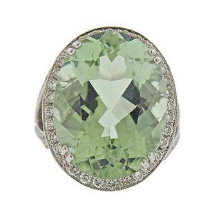18k Gold 22.15ct Prasiolite Diamond Ring