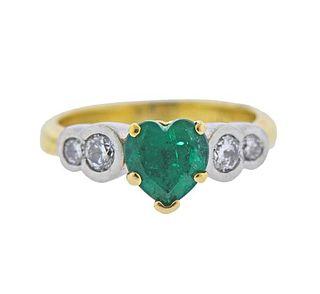 18k Gold Platinum Heart Emerald Diamond Ring